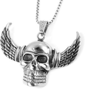 Skull Pendant Necklace (24 in) in Stainless Steel